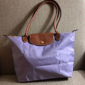LONGCHAMP purple tote bag medium sized long strap